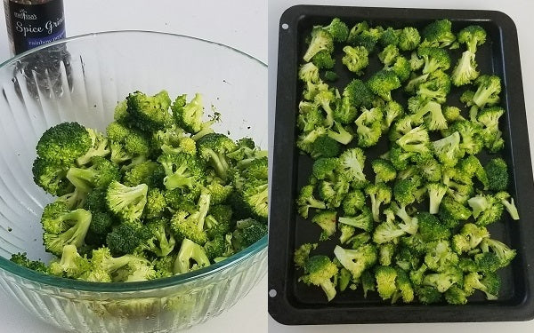 Mix the broccoli, oil, salt, and pepper in a bowl until coated.