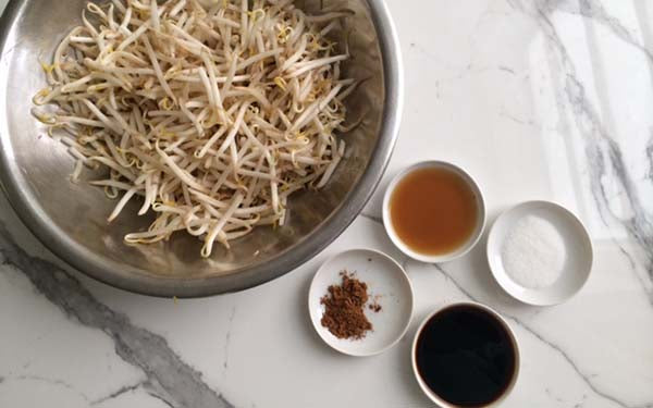 Ingredients for Shanghai-Style Tofu and Beans Sprout Salad with Chinese Five Spice Dressing