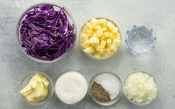 Ingredients for Braised Red Cabbage
