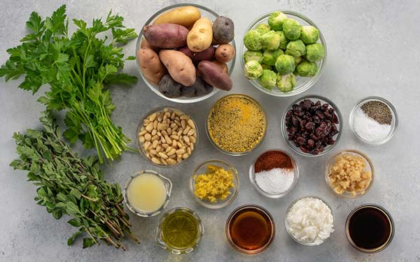 Ingredients for Roasted Brussels Sprouts with Coconut Bakin