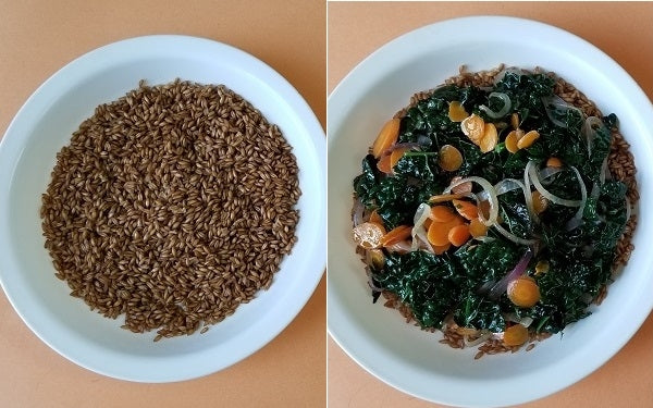 In another pan, cook eggs to desired doneness; sunny side up, over easy or over hard. While the eggs are cooking, start plating. First place a couple of heaping spoons of cooked Farro in a large soup bowl, then cover with the carrot and kale mixture almost to the brim of the bowl.