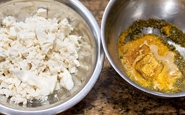The night before pie prep, make the feta by mixing together the miso, vinegar, lemon juice, salt, oregano, nutritional yeast and tahini and stir until well blended.