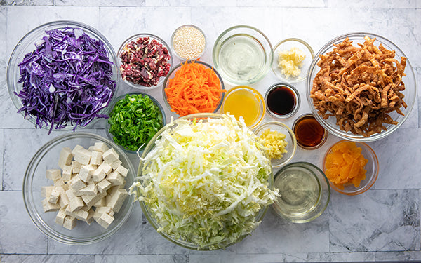 Ingredients for Chinese Chickenless Salad