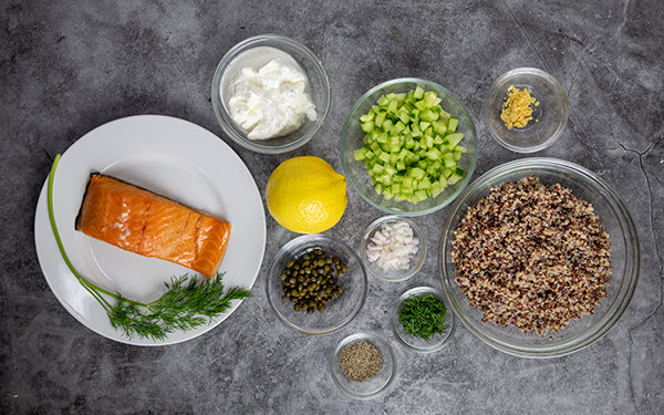 Ingredients of Smoked Salmon Salad with Dill Caper Dressing