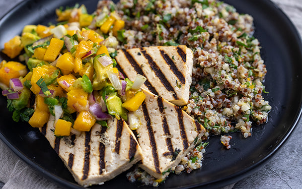 Image of Marinated Grilled Tofu with Quinoa and Salsa