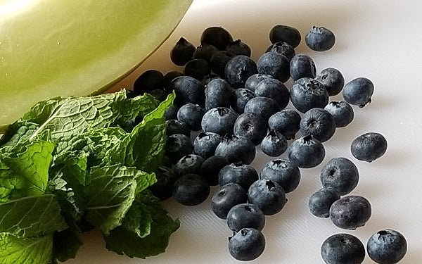 Ingredients for Blueberry-Melon Freeze