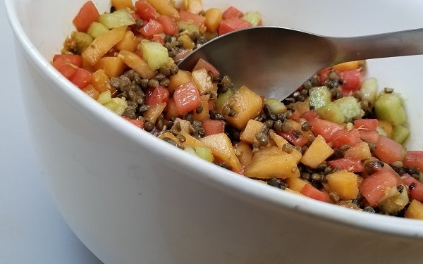Add the lentils right from package into the melon mixture and stir gently to mix.
