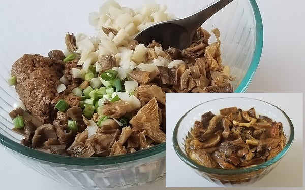 Reconstitute dried mushroom per directions on package, then dice. In a mixing bowl combine Soy Ground, water chestnuts, green onions and mushrooms. Then add the soy sauce and salt. Mix well.