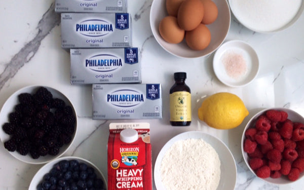 Ingredients for Spanish Cheesecake with Mixed Berry Sauce, Crème Fraiche and Fresh Mint