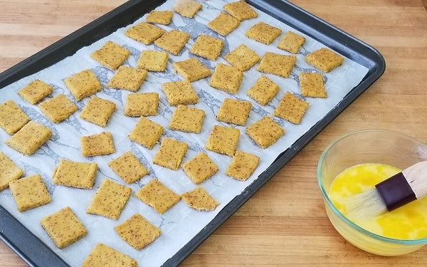 Image of crackers on cookie sheet