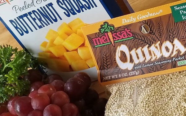 Ingredients for Quinoa, Butternut Squash & Sweet Grapes!