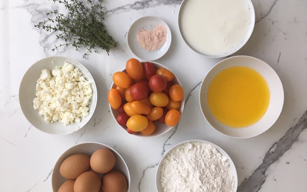 Ingredients for Gluten-Free Tomato and Goat Cheese Clafoutis