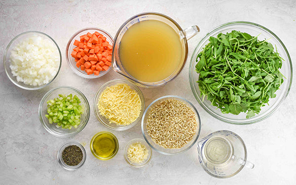 Ingredients for Barley Risotto with Wilted Greens
