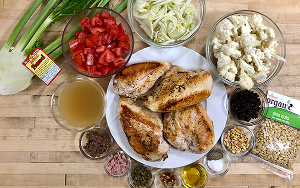 Ingredients for Braised Sicilian Chicken with Tomatoes and Fennel