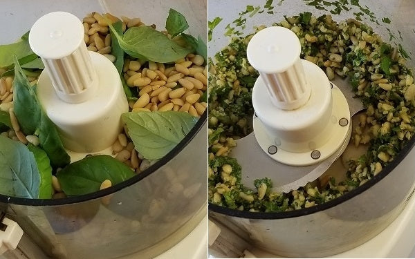 Place the pine nuts and basil leaves in a food processor or blender, PULSE a few times until nuts have broken into pieces and combined with the basil.