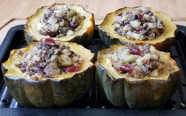 Fill each squash half with the lentil-apple stuffing.