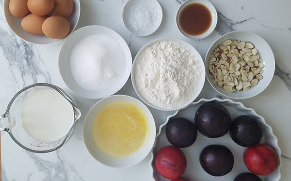Ingredients for Plum and Almond Clafoutis