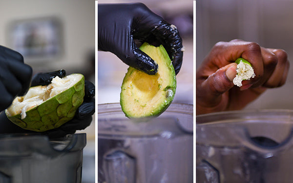 Place the fruit in a blender with the yogurt, avocado, and lime juice.