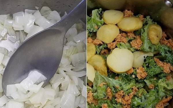 Place small amount of oil in a soup pot and brown the onions. Add to the pot, in layers, the potatoes, kale and sausage.