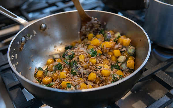 Add the farro to the pan, stir to incorporate and cook about two minutes.