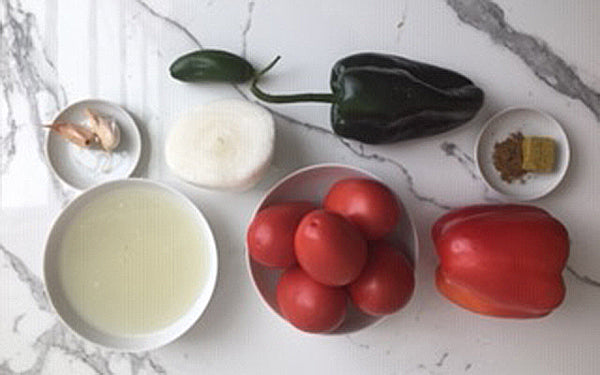 Ingredients for Creamy Corn Cakes with Sous Vide Eggs and Mexican Ranchera Sauce