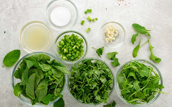 Ingredients for Mixed Herb Dipping Sauce