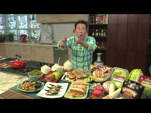 Light and Fresh Party Food with Martin Yan: Kimchi Hot Dogs, Edamame, Asian Tacos and more