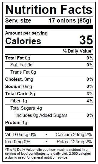 Image of Assorted Pearl Onions Nutrition Facts Panel