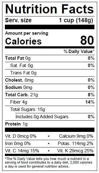 Image of  Blueberries Nutrition Facts Panel