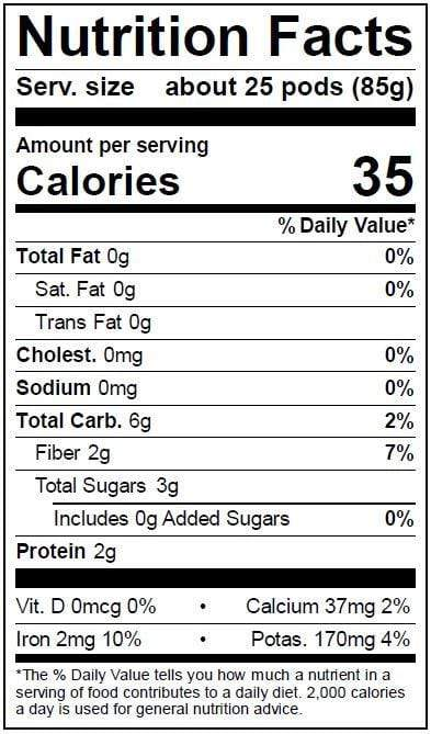 Image of  Sugar Snap Peas (Yellow and Purple) Nutrition Facts Panel
