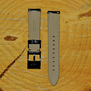 20mm - Standard Black Glazed Leather Watch Strap