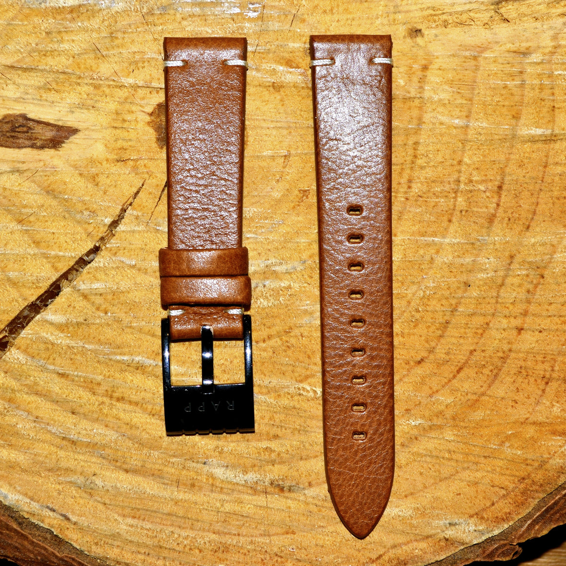 20mm - 2 Stitch Country Brown Leather Watch Strap