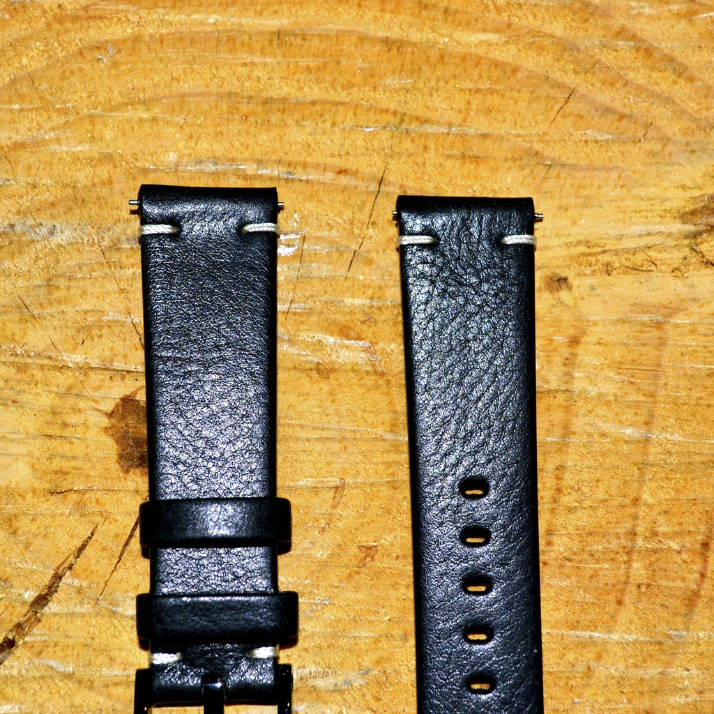 20mm - 2 Stitch Country Black Leather Watch Strap