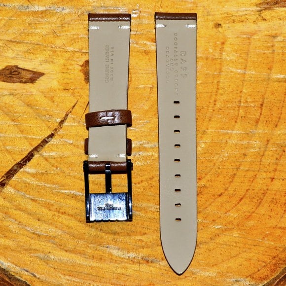 20mm - 2 Stitch Dark Brown Leather Watch Strap