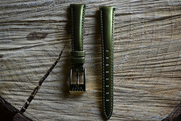 16mm - Patent FA11 Metallic Olive Watch Strap