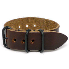 American Made NATO Leather Strap - Chromexcel Dark Brown