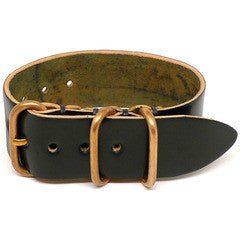 American Made NATO Leather Strap - Shell Cordovan Black