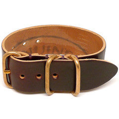 American Made NATO Leather Strap - Shell Cordovan Brown