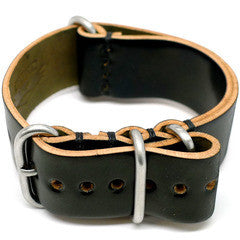 American Made Dual NATO Leather Strap - Shell Cordovan Black