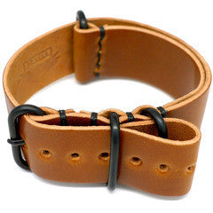 American Made Dual NATO Leather Strap - Shell Cordovan Brandy