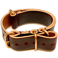 American Made Dual NATO Leather Strap - Shell Cordovan Brown