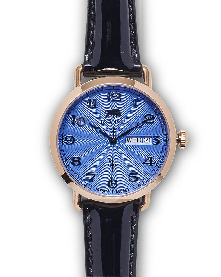 Lady Capel - Rose Gold Blue Patent