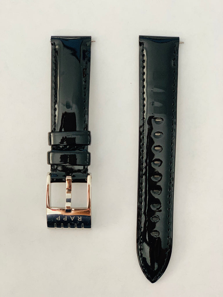 20mm - Black Patent Leather Watch Strap