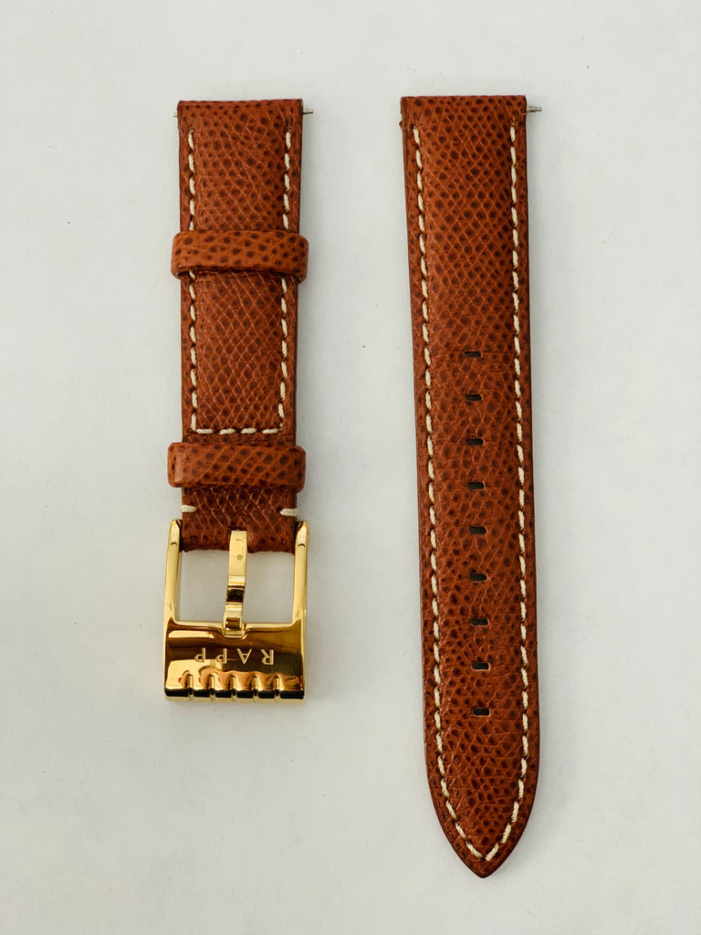 20mm - Light Brown Calfskin Texture Leather Watch Strap