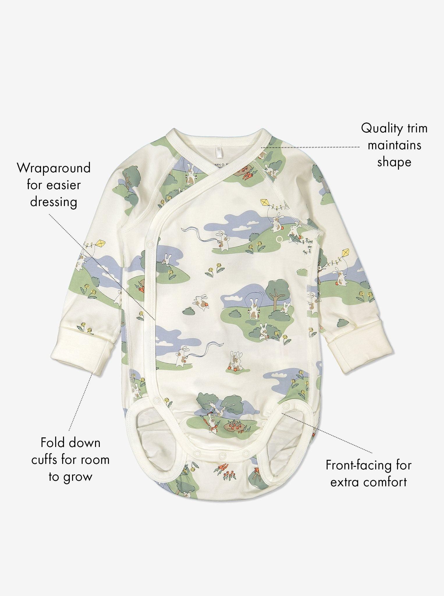 Organic cotton long sleeve babygrow in a unisex bunny print with text labels shown on the sides