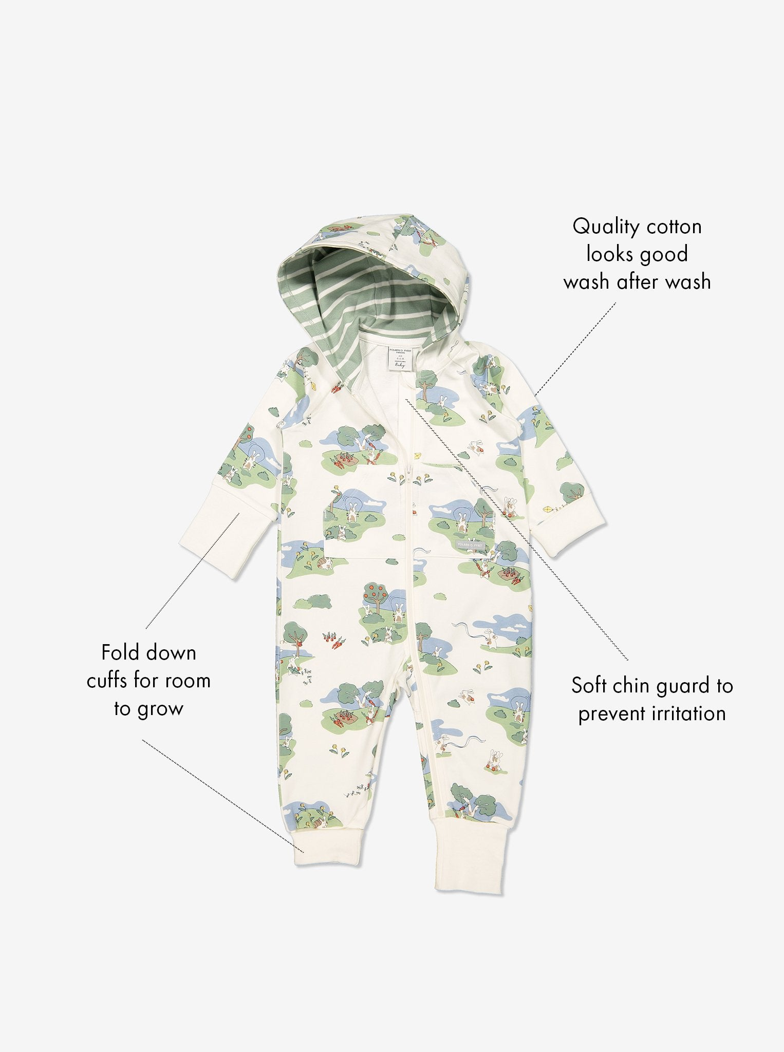 GOTS organic cotton baby all-in-one in a playful bunny print with text labels shown on the sides