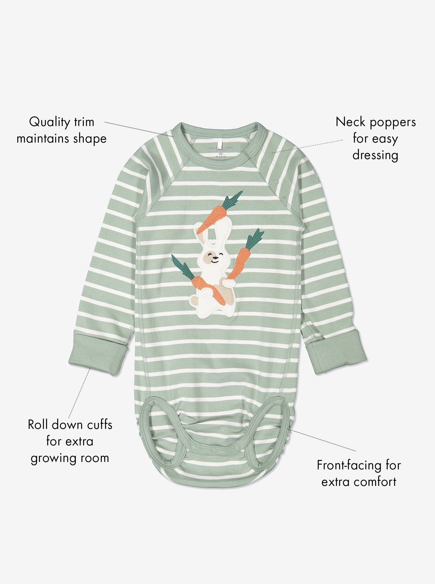 Striped Bunny Organic Cotton Babygrow