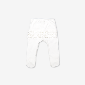 Organic Frilly Baby Tights White Girl 0-6m