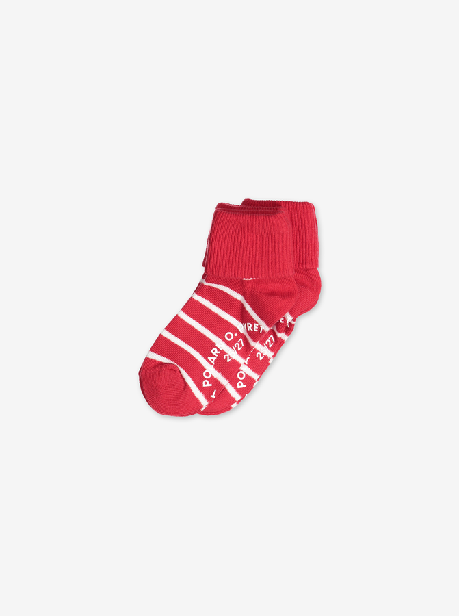2 Pack Kids Antislip Socks Red Unisex 4m-6y