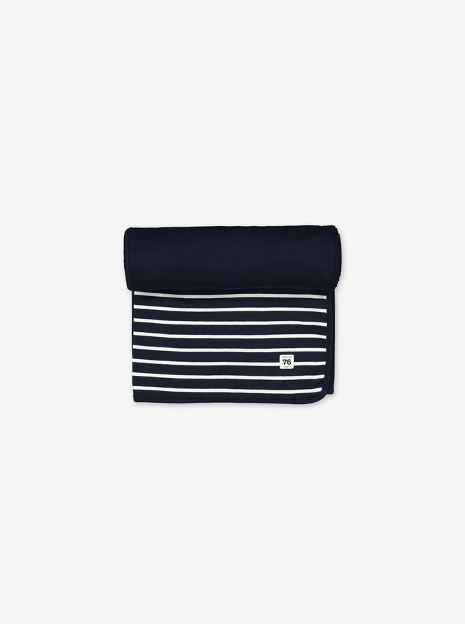 PO.P Stripe Shawl/Blanket Navy Unisex One Size